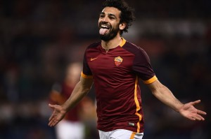 Roma's midfielder from Egypt Mohamed Salah celebrates after scoring during the Italian Serie A football match Roma vs Palermo at the Olympic Stadium in Rome on February 21, 2016. / AFP / FILIPPO MONTEFORTE (Photo credit should read FILIPPO MONTEFORTE/AFP/Getty Images)