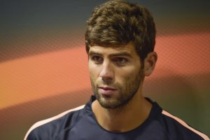 PLZEN, CZECH REPUBLIC - SEPTEMBER 14: AS Roma player Federico Fazio attends a press conference, on the eve of their UEFA Europa League Group stage match against FC Viktoria Plzen, on September 14, 2016 in Plzen, Czech Republic. (Photo by Luciano Rossi/AS Roma via Getty Images)
